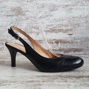 9.5 Narrow Naturalizer N5 Black Leather Pumps